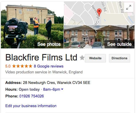 Blackfire Films' Google My Business listing